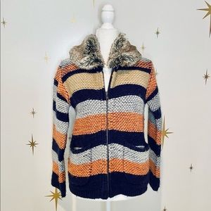 Anthropologie Sparrow Knit Faux Fur Zip-Up Sweater